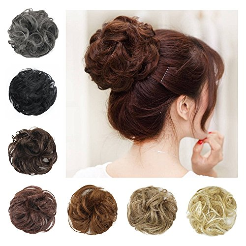 Scrunchie Peppers (BARSDAR Wavy Curly Messy Bun Hairpiece Updo Scrunchie Ribbon SyntheticDonut Hair Extensions for Women -Medium Chestnut Brown)