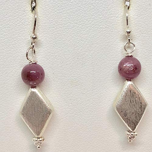 Pink Sapphire & Hill Tribe Silver Earrings 310698