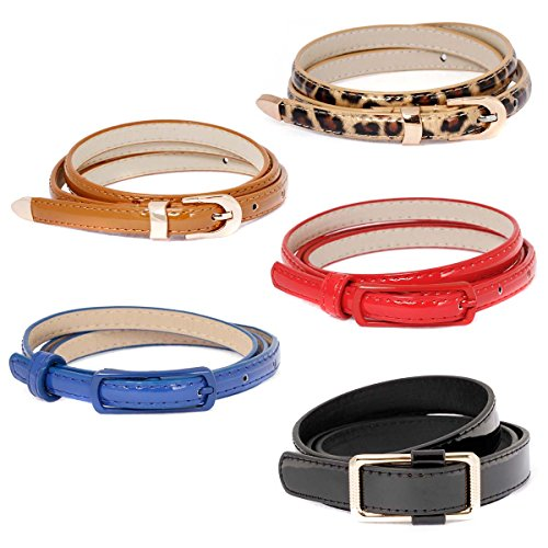 [BMC Womens 5pc Mix Color Faux Leather Fashion Statement Skinny Belts Bundle-Set 3, The Standards] (Belt Set)