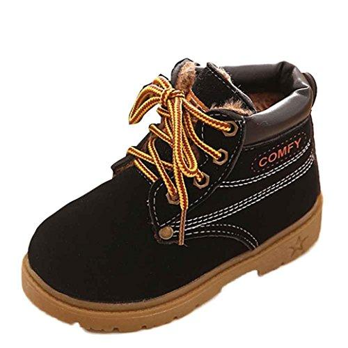 Saingace Krabbelschuhe boots,1 ~ 6 Alter Winter-Baby-Kind-Armee-Art-Martin Stiefel warme Schuhe (25, Schwarz)