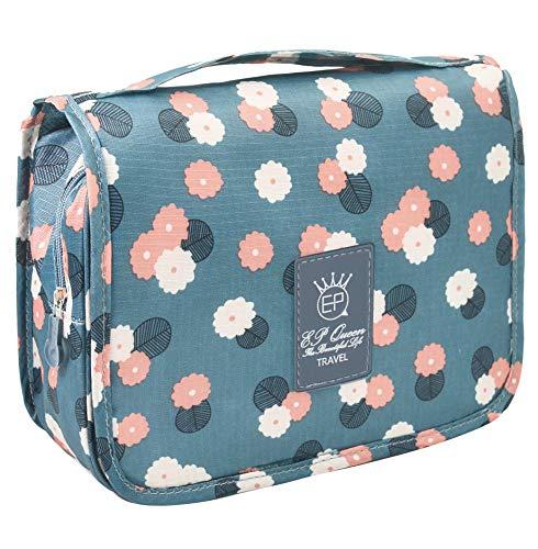 Hanging Toiletry Bag - Large Capacity Travel Bag for Women and Men - Toiletry Kit, Cosmetic Bag, Makeup Bag - Blue Flowers