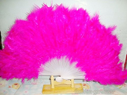Price comparison product image Rose Red Soft Fluffy Lady Burlesque Wedding Hand Fancy Dress Costume Dance Feather Fan
