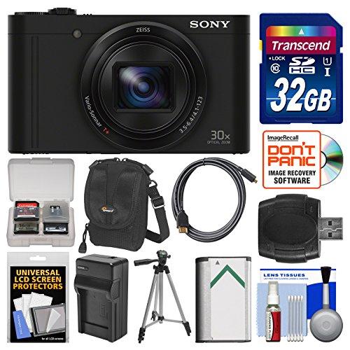 Sony Cyber-Shot DSC-WX500 Wi-Fi Digital Camera (Black) with 32GB Card + Case + Battery & Charger + Tripod + Kit