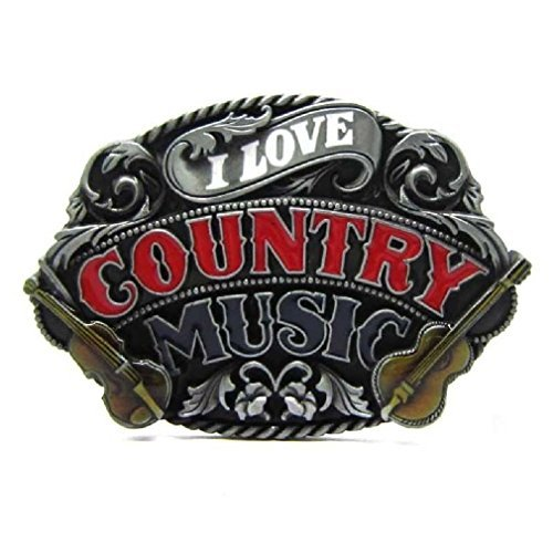 (I Love Country Music Guitar Belt Buckle Men Girl Vintage Western Rock Roll Dance)