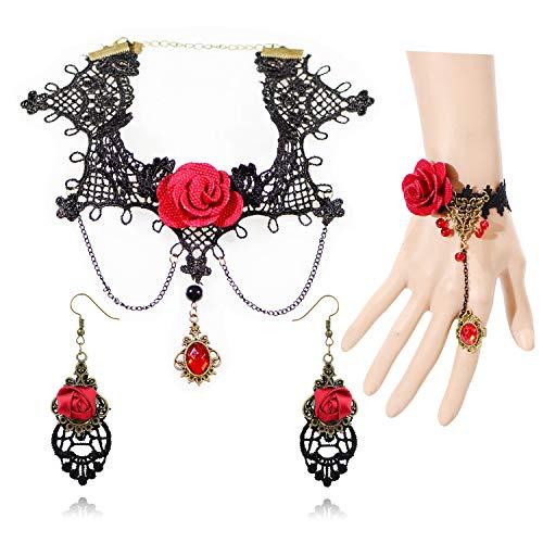 Lolita Jewelry (Halloween Costume Jewelry Handmade Gothic Princess Lolita Retro Lace Punk Party Black Collar Choker Chain Pendant Necklace Bracelet for Women Slave Bracelet Artificial Crystal Necklace Bracelet Set)