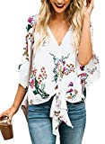 LOSRLY Women Floral Printed Tie Front V Neck Short Sleeve Chiffon Tops Summer Blouses-White XL 16 18