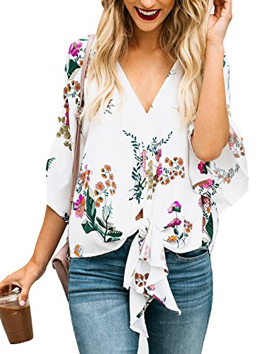 - LOSRLY Women Floral Printed Tie Front V Neck Short Sleeve Chiffon Tops Summer Blouses-White S 4 6