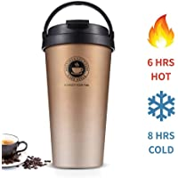 Stainless Steel Vacuum Insulated Coffee Mug with Lid, Perfect Travel Cup for Hot and Cold Drinks, Thermal Coffee and Tea Mugs, Double Wall, Metal, Spill Proof, Leak Proof, 17 oz, Black
