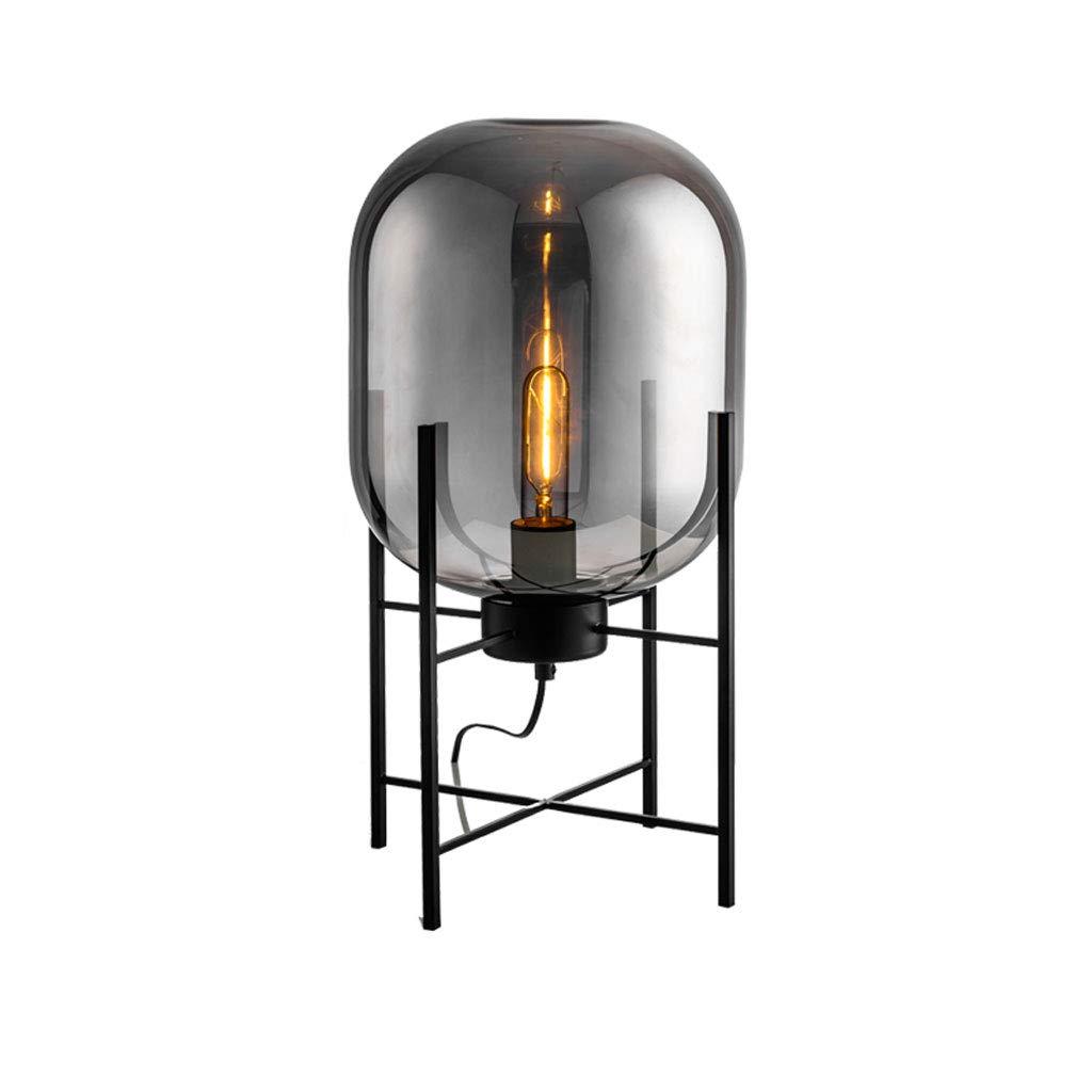 Nordic einfache eisen stehlampe, kreative mode wohnzimmer schlafzimmer studie nachttischglas vertikale standard lampe led (Color : Smoke gray-26 * 45cm)
