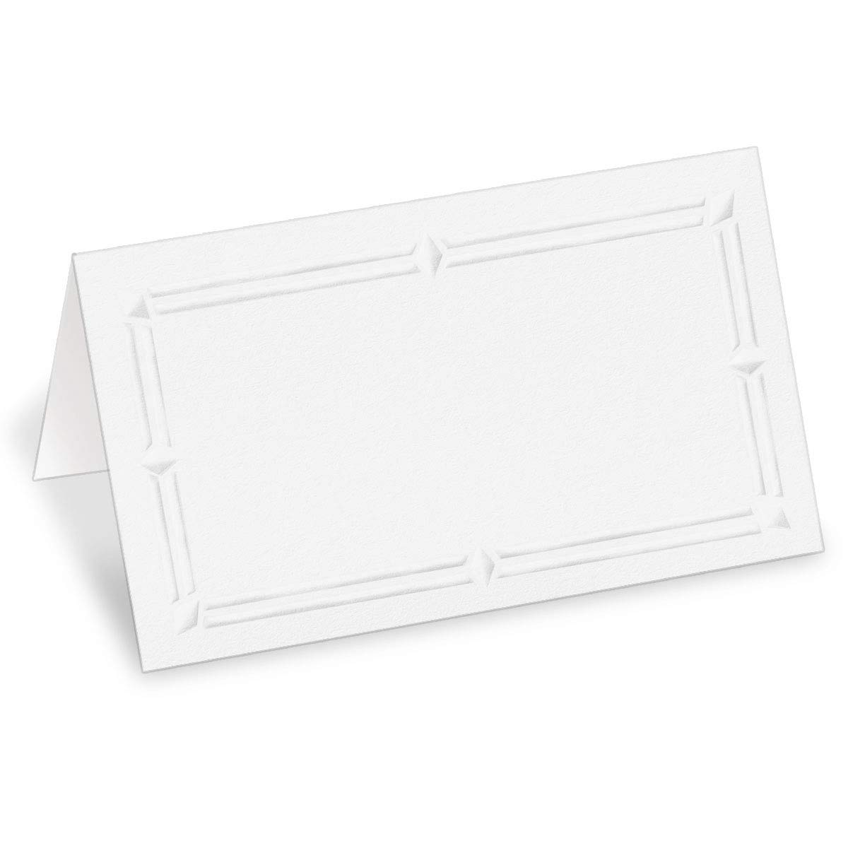 PaperDirect 38lb White Cover Stock Folded Place Cards with White Foil Border, Micro-Perforated, 2'' x 3 1/2'', 100/pack, Laser and Inkjet Compatible by PaperDirect