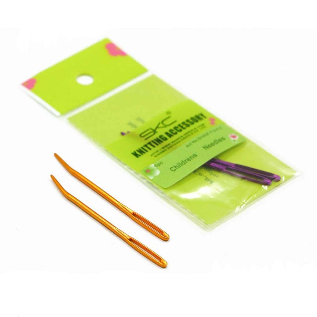 4 PCS Big Eyes Gold Curved Needles Sweater Suture Needle Safety Sewing Needle Wool Thread Needle DIY Woven 2.7 Inch Needle-2//Pkg (2 Pack)