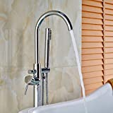 Bath Faucet Sets Votamuta New Chrome Polished Floor Mounted Bathtub Shower Faucets Set Free Standing Bathroom Shower Mixer Tpas with Handheld Spray