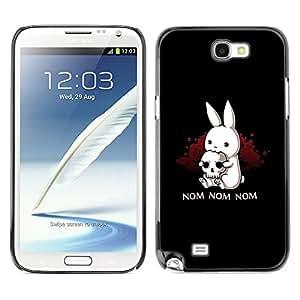 [Neutron-Star] Snap-on Series Teléfono Carcasa Funda Case Caso para Samsung Note 2 N7100 [Monstruo Negro lindo conejito Cráneo divertido]