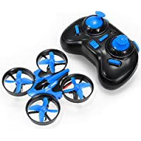 Flypro H36 E010 Mini UFO Quadcopter Drone with 2 Batteries 2.4G 4CH 6 Axis Headless Mode Remote Control Nano Quadcopter RC Toy RTF Mode 2 (Blue)