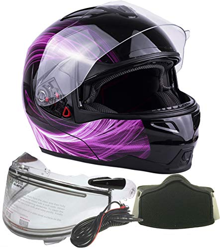 Adult Dual Visor Modular Full Face Snowmobile Helmet With Heated Shield, Breath Box (Pink, Small) -