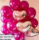 Rose Red Balloons Decorations Kit-5 Foil Mylar