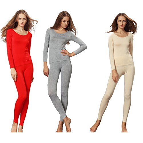 Liang Rou Women's Crewneck Stretch Top & Bottom Thin Thermal Underwear Set 3-Pack Size M
