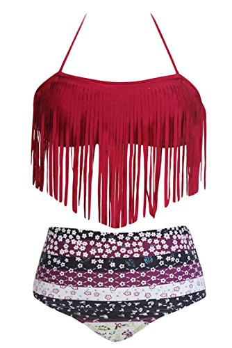 ZKESS Womens Halter Fringed Floral Printed Padded Tassel Bikini Set Swimsuit Small Size Red