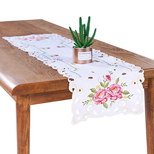 Bone & Tissue Embroidered Table Runner, 2 Pcs White Dresser Scarf with Flower Embroidery and Hollow Out Design, 15 x 54 Inch