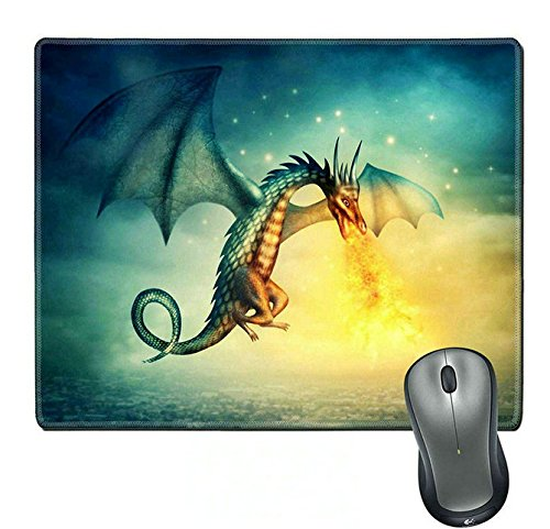 Seattle Flying Dragons ((Precision lock edge mouse pad) Natural Rubber Mouse Pad/Mat with Stitched Edges;Flying fantasy dragon at night made by)