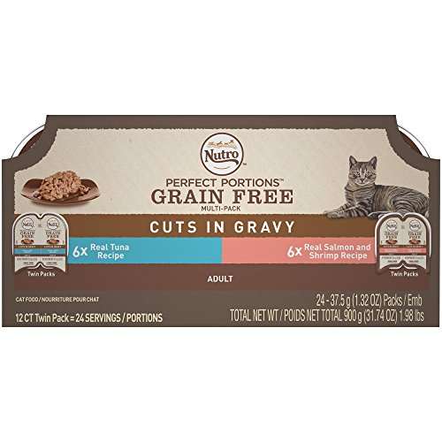NUTRO PERFECT PORTIONS Cuts in Gravy Variety Pack Real Tuna, Salmon, and Shrimp Wet Cat Food Trays 2.65 Ounces (24 Twin Packs)