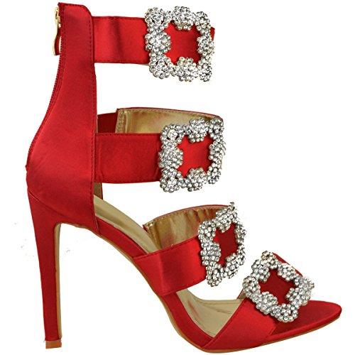 Heelberry Thirsty Rosso Spillo A Alti Scarpe Fashion Satin Gb Diamante Tacchi Sandali Donna Cinturino Numero Raso 5dgngwx