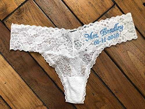 Bridal Thong Underwear Personalized, Bride Lingerie with Embroidery, Wedding Mrs Name Panties, Bachorette Party Gift for Bride to Be, Future Bride Gift
