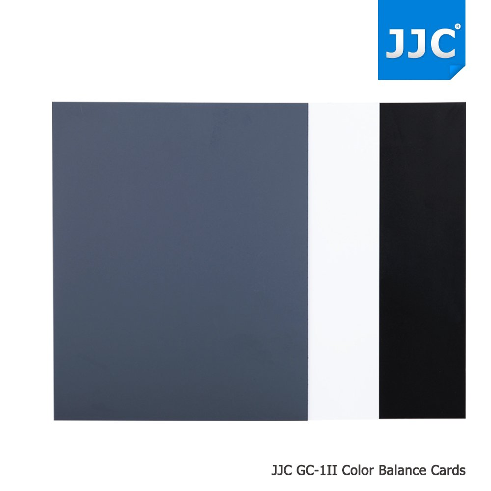 JJC 3-in-1 Pack A4 Size PVC Water Resistant Photography Color Balance Card, 18% Neutral Grey Card X 1 + Black Card X 1 + White Balance Card X 1, Size: 10 x 8 inch / 254 x 202mm by JJC