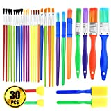 BTNOW Colorful Artist Paint Brush Set 30 Pieces Kids Paint Brushes Assorted Sizes for Watercolor, Oil, Acrylic & Tempra Paints and More
