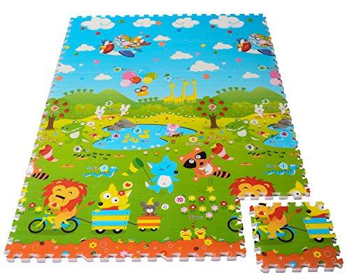 24 Pcs Puzzle Kids Play Mat - Colorful Exercise Mat, Educational Mat & Foam Floor Gym for Kids & Babies - Non-Toxic, Non-Slip, Waterproof