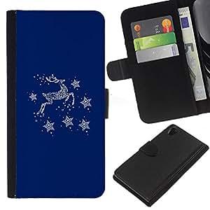 WINCASE (No Para Z2 Compact) Cuadro Funda Voltear Cuero Ranura Tarjetas TPU Carcasas Protectora Cover Case Para Sony Xperia Z2 D6502 - azul ciervos estrellas de invierno minimalista