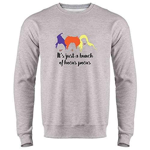 Pop Threads It's Just A Bunch of Hocus Pocus Halloween Costume Heather Gray S Mens Fleece Crew Sweatshirt ()