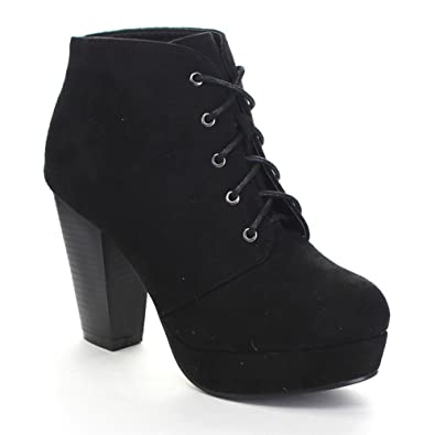 black lace up ankle boots with heel