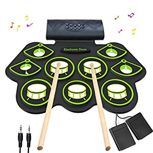 Electronic Drum Set - MIDI Drum Practice Pads,Bluetooth Portable Roll Up Electric Drum kit for Kids Beginner,Kids Drum… Drum Sets