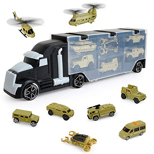 (Beebeerun 12 in 1 Army Transport Car Carrier Truck Toys,Military Vehicle Die-cast Toy Matchbox Truck Toys for Kids Boys and Girls)