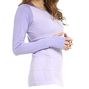 LWJ 1982 Women's Sports Skin Gym Yoga Run Seamless Long Sleeve Function Fitness T-Shirts (Medium, Purple)