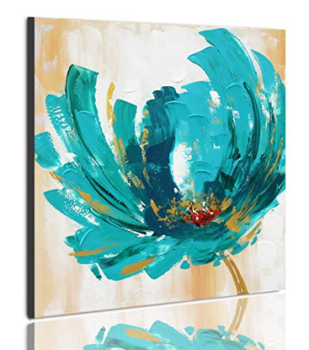 - UAC WALL ARTS 100% Hand Painted Blue Tea Flower Modern Floral Oil Paintings Stretched and Framed Flowers Artwork Paintings on Canvas Wall Art for Living Room Bedroom Home Decorations 24x24 Inch