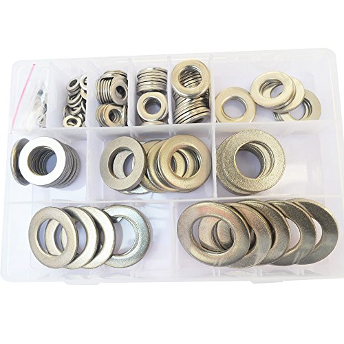 Large Flat Fender Washer Metric Plain Countersunk Gasket Ring Metal for Screw Bolt Standard Hardware M5 M6 M8 M10 M12 M14 M16 M18 M20 M22 M24 Assortment Kit Set SAE 218pcs 304 Stainless Steel M5-M24