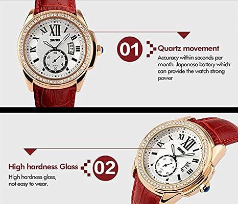 Amazon.com: Reloj De Mujer Women Casual Quartz Wristwatch Relogio Feminino RE0030 (Red): Watches