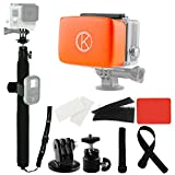 CamKix Pole and Floater Bundle for GoPro Hero 4, 3+, 3, 2, 1  Includes a 14  40 Pole / Straps to Attach Remote (remote not included) / Float for Backdoor / Waterproof Velcro Adhesive Attachments