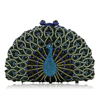 Honana Party Bags for Women Lady Rhinestone Dinner Bag Lady Handmade Bags Elegant Banquet Clutch Bag Shoulder Chain Bag Dress Hard Shell Gift Makeup Bag Peacock Shape Women's Fashion (Color : A)