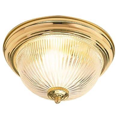 Sunset Lighting F7500-10 Flush Mount with Easy Twist Satin Opal Glass, Polished Brass Finish