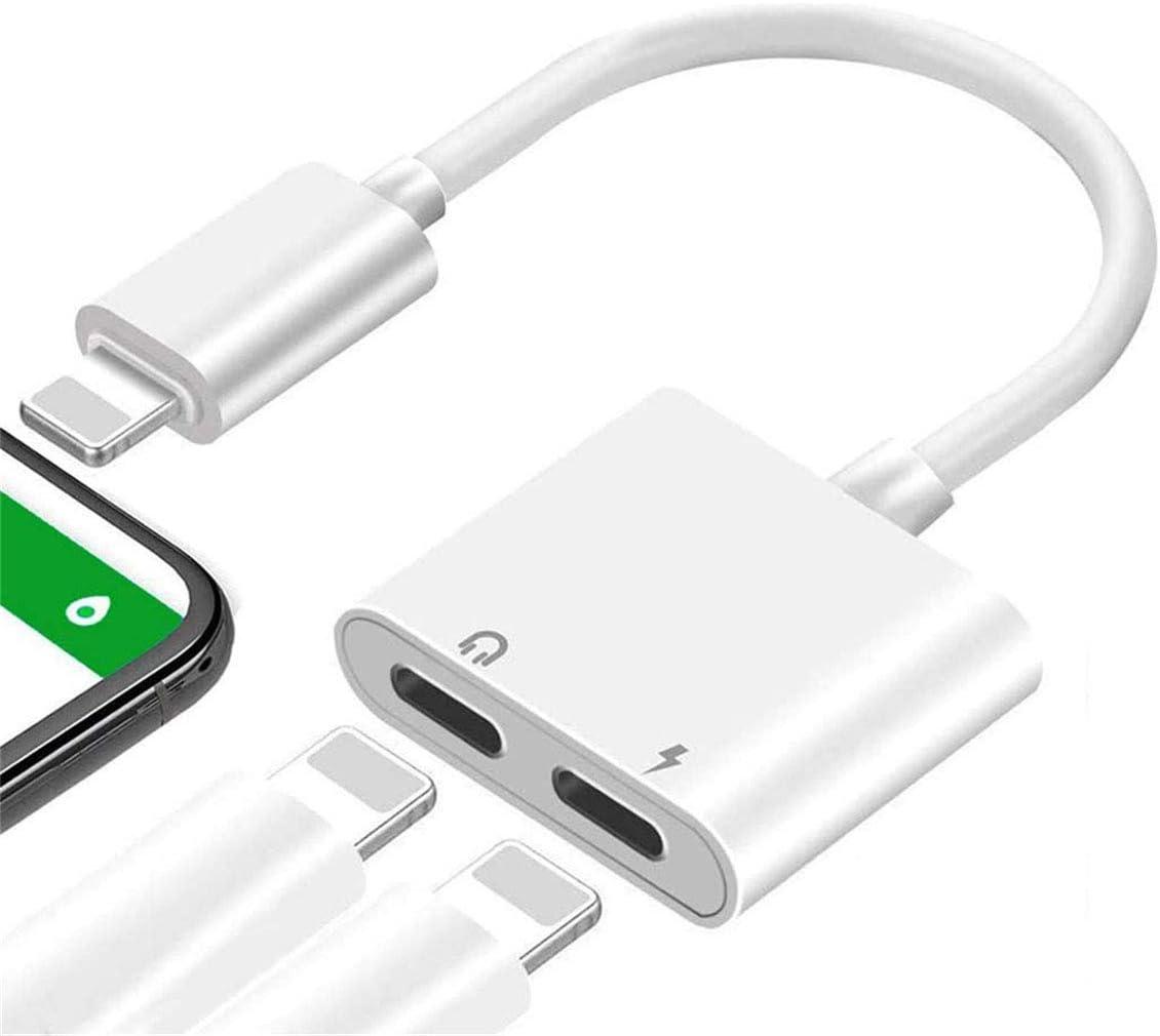 Adaptador de Auriculares para iPhone X [Llamada de Audio remota] Adaptador de Cable AUX Dual Adaptador para iPhone 11Pro / XS MAX/XS/XR/X / 7 / 7Plus / 8/8 Plus Soporte 4 en 1 para Todos los iOS