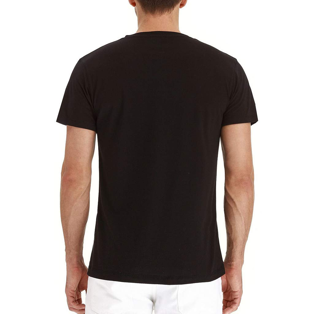 Black,S WENSY Mens Casual Solid Color Button Ripped Hole Short Sleeve T-Shirt Top Blouse