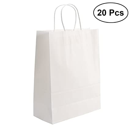 NUOLUX 20pcs Bolsas de Papel Kraft 13 x 10.2 x 4.7 Bolsa de ...