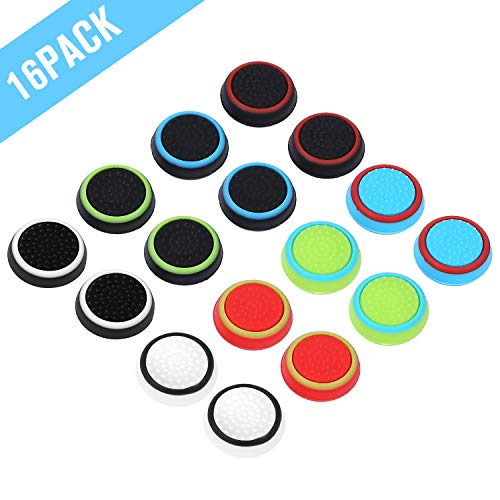 Obeka 8 Pairs Thumb Grips Silicone Analog Stick Covers Thumbstick Controller Replacement Joystick Cap for PS4 PS3 PS2 Xbox One Xbox 360 Wii U  Assorted (Upgraded Version)