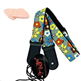 Adjustable Cotton Strap with Leather Ends for Ukulele,Ukulele Belt, Ukulele Strap with 2 Ukulele Picks (Flower)