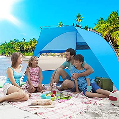 Victostar Easy Setup Beach Tent, Automatic Pop up Instant Sun Shelter with UPF 50+ UV Protection for Family Outdoor Beach Camping
