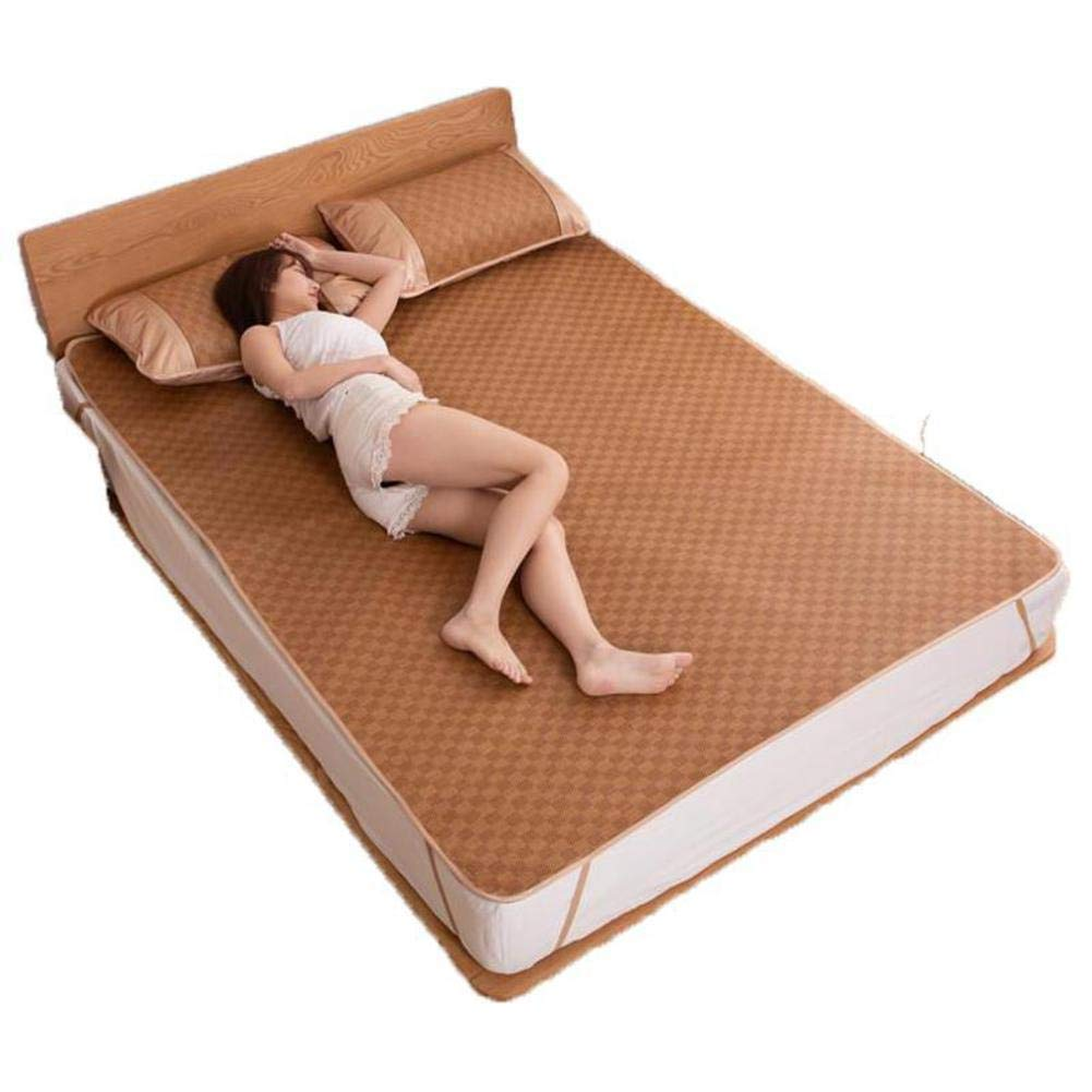 冷却 夏の睡眠マット, 籐マット, 式 ベッドパッド 丈夫 肌に優しい エアコン マット スリーピース-a B07RZ6R8CH