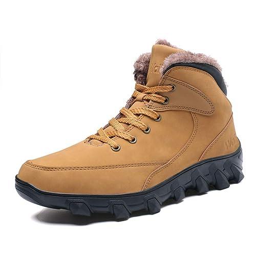 Hombre Botas de Invierno Nieve Zapatillas Trekking Senderismo Impermeables Cuero Antideslizante Calientes Botines Caqui Negro 36-46 YL46: Amazon.es: Zapatos ...